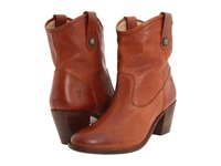 Frye Jackie Button Short Cognac Soft Vintage Leather Women's Dress Pull On Boots Brown