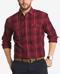 G.H. Bass And Co. Men's Big And Tall Hawk Mountain Twill Plaid Long Sleeve Shirt Rhubarb