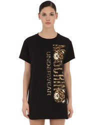 Moschino Leopard Bear Cotton Jersey Maxi T Shirt Black