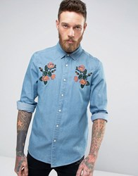 Asos Regular Fit Western Denim Shirt With Floral Embroidery Mid Wash Blue
