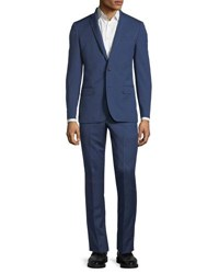 Neiman Marcus Slim Fit Super 120S Wool Twill Two Button Two Piece Suit Bright Blue