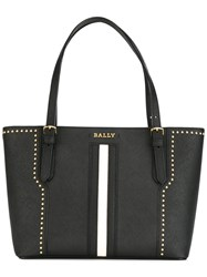 Bally Stripe Front Tote Bag Black