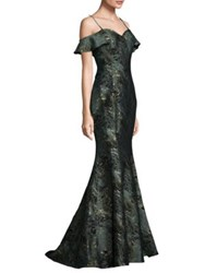 Alberto Makali Off Shoulder Texture Mermaid Gown Jade