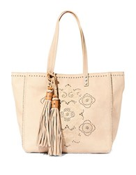 Steve Madden Embroidered Faux Leather Tote Bone