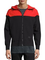 Rag And Bone Colorblocked Fleece Hoodie Fiery Red Black