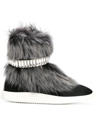 Giuseppe Zanotti Design Marley Fur And Crystal Hi Top Sneakers Cotton Fox Fur Leather Rubber 36.5 Black