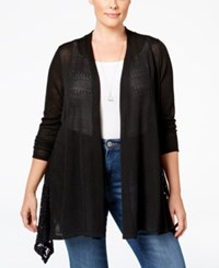 Styleandco. Style Co. Plus Size Lace Trim Open Front Cardigan Only At Macy's Deep Black