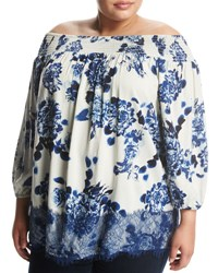 Chelsea And Theodore Plus Lace Trim Floral Print Off The Shoulder Top White