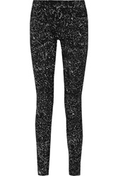Proenza Schouler Printed Twill Mid Rise Skinny Pants Black