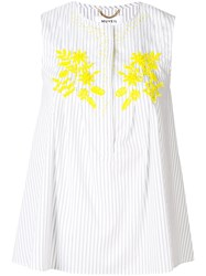 Muveil Floral Embroidred Top White
