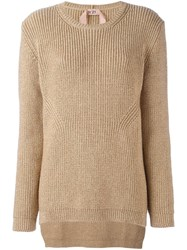 N 21 No21 Glittery Tail Hem Pullover Nude And Neutrals