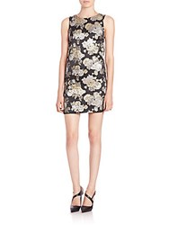 Alice Olivia Clyde Embroidered Mini A Line Shift Dress Gold Black