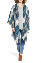 Treasure And Bond Women's Plaid Blanket Wrap Blue Combo