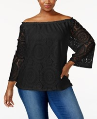 Ing Trendy Plus Size Off The Shoulder Lace Top Black