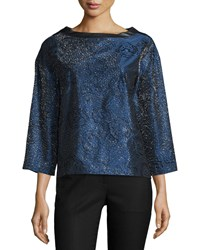 J. Mendel 3 4 Sleeve Metallic Top W Leather Back Imperial Blue Women's Size 2