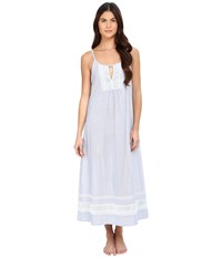 Oscar De La Renta Yarn Dye Stripe Cotton Woven Long Gown White Blue Stripe