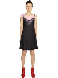 Boutique Moschino Lace Slip Printed Techno Cady Dress
