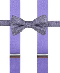 Alfani Men's Mars Speckled Pre Tied Bow Tie And Suspender Set Only At Macy's Purple