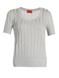 Missoni Scoop Neck Ribbed Knit Top Light Grey