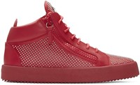 Giuseppe Zanotti Red Studded London High Top Sneakers