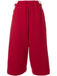Y 3 Cropped Designer Trousers Red