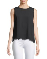 Cynthia Steffe Crochet Trim Sleevless Blouse Black