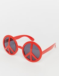 Jeepers Peepers Novelty Peace Frame Sunglasses Red