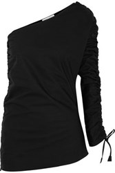 Barbara Casasola Ruched Asymmetric Cotton Gabardine Top Black