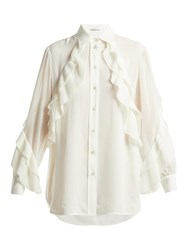 Givenchy Pleated Ruffle Silk Blend Blouse Cream