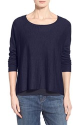 Petite Women's Eileen Fisher Cashmere Bateau Neck Sweater Midnight
