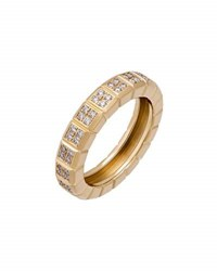 Chopard Estate Ice Cube 18K Yellow Gold Pave Diamond Band Ring Size 5.5