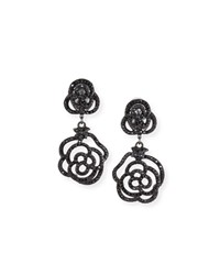 Jose And Maria Barrera Crystal Rose Clip On Drop Earrings Jet Black