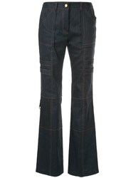 Manning Cartell Striped Bootcut Trousers Blue