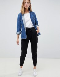 B.Young Cropped Trousers With Waist Tie Black