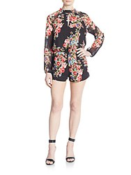 Saks Fifth Avenue Red Floral Print Keyhole Short Jumpsuit Multi