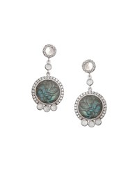 Coomi Affinity Round Carved Labradorite Earrings With Diamonds