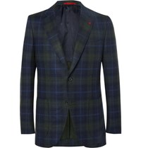 Isaia Slim Fit Checked Wool And Cashmere Blend Blazer Blue
