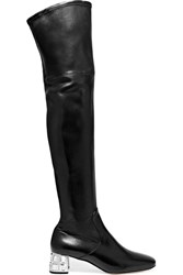 Miu Miu Crystal Embellished Leather Over The Knee Boots Black