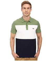 Lacoste Short Sleeve Color Block Textured Pique Polo Dill White Navy Blue Men's Clothing Multi