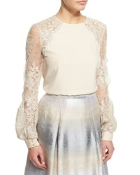 Kay Unger New York Illusion Lace Long Sleeve Blouse Champagne