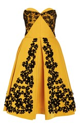 Oscar De La Renta Sweetheart Lace And Floral Embroidered Dress Yellow