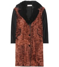 Marni Wool And Fur Blend Coat Brown
