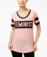 Mighty Fine Juniors' Feminist Graphic T Shirt Light Pink