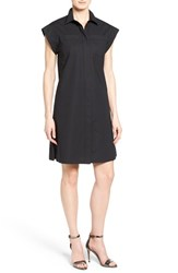 Women's Michael Michael Kors Cap Sleeve Cotton Poplin Shirtdress Black