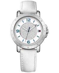 Tommy Hilfiger Women's Sophisticated Sport Silver Tone Crystal Leather Strap Watch 34Mm 1781626