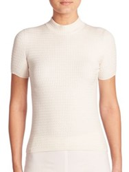 Akris Stretch Wool And Silk Cable Knit Pullover Moonstone