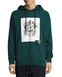Public School Flower Graphic Hoodie Dark Green