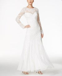 Adrianna Papell Beaded Illusion Sweetheart Gown White