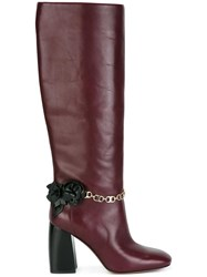 Tory Burch Chain Detailing Boots Pink Purple