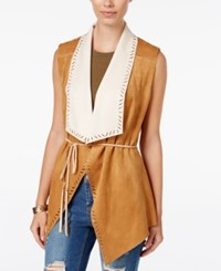 Jessica Simpson Teegan Open Front Faux Suede Vest Light Brown